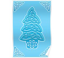 Celtic Christmas Tree (ice-blue) Poster