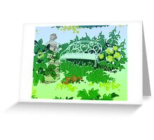 Lady In Music By The Garden Bench  Greeting Card