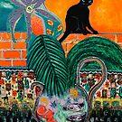 Walled Garden, Black Cat and Setting Sun by ltruskett