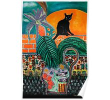 Walled Garden, Black Cat and Setting Sun Poster
