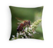 Mint Bee Throw Pillow