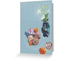 pomegranates & flowers in vase,  persimmons & orange Greeting Card