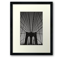 BROOKLYN BRIDGE VERTICAL B&W Framed Print