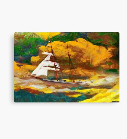 A digital painting of Mary Celeste in the rig she wore when found in 1872 Canvas Print
