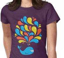 Colorful Swirls and Happy Cartoon Whale Womens Fitted T-Shirt