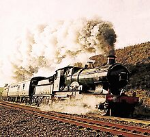 Steam Train in Landscape by Abie Davis
