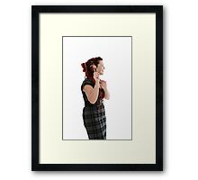Beautiful happy woman with pen  Framed Print
