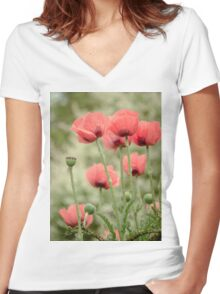 Oriental poppies patterns Women's Fitted V-Neck T-Shirt