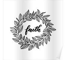 Faith Wreath Black Poster