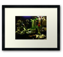 Green with a Touch of Red, White and Blue Framed Print