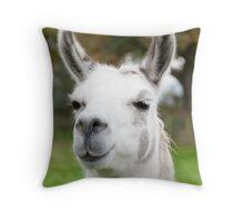 White and grey llama Throw Pillow