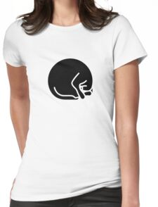 Stylized sleeping black cat Womens Fitted T-Shirt