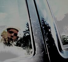 self portrait in a truck window by Anthony DiMichele