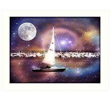 Moonlight sailing © Art Print