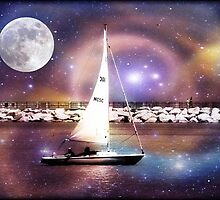 Moonlight sailing © by Dawn M. Becker