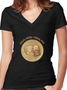 EQUAL WORK = EQUAL PAY Women's Fitted V-Neck T-Shirt
