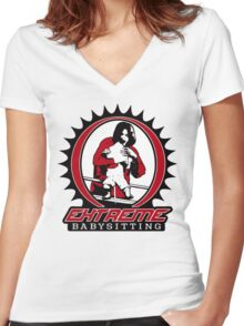 Extreme Babysitting Women's Fitted V-Neck T-Shirt