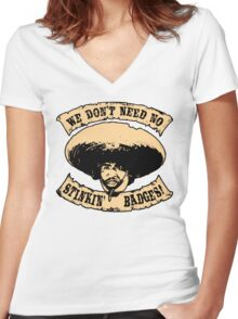 Stinkin' Badges Women's Fitted V-Neck T-Shirt