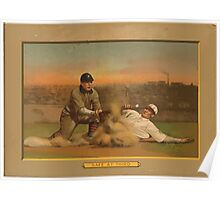 Benjamin K Edwards Collection Safe at third baseball card portrait Poster