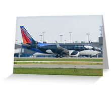 N715SW Southwest Airlines Boeing 737-7H4 Shamu Greeting Card