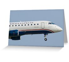Tight Shot of US Airways Express N124HQ on Approach Greeting Card