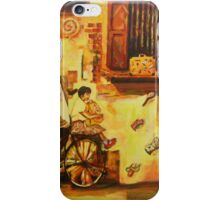 School Girl on Bicycle Chinese Heritage Street Art Painting iPhone Case/Skin