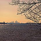 Delaware Philly Sunset by GalleryThree