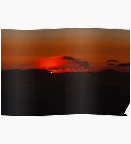 Clouds Afire Sunset Poster