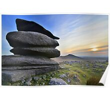 Cornwall: Winter Evening at Showery Tor Poster