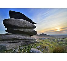 Cornwall: Winter Evening at Showery Tor Photographic Print