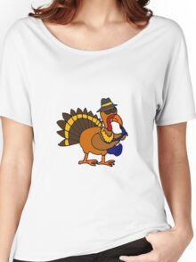 Funky Cool Turkey Playing Saxophone Women's Relaxed Fit T-Shirt