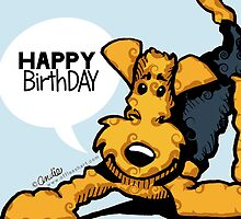 Airedale Terrier Funny Happy Birthday Cards by offleashart