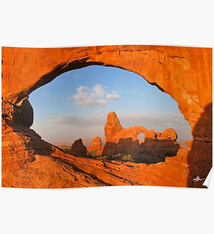 Turret Arch through the North Window, Arches National Park Poster