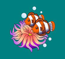 Clownfish Ocellaris Anenome Cute Vector Art by SnowFoxCreation