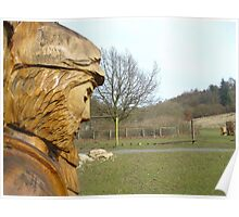 Carved man at Dalby Forest Poster