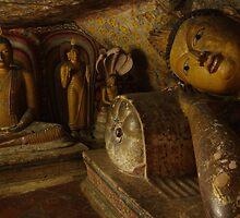 Buddha statues, Drambulla cave temple, Sri Lanka by Derek  Rogers