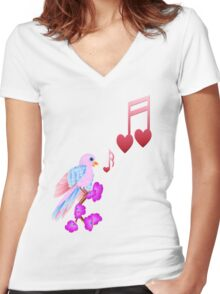 Pink Bird and Love Notes Women's Fitted V-Neck T-Shirt