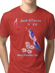 Blue Bird and Love Notes-lettered Tri-blend T-Shirt