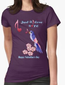 Blue Bird and Love Notes-lettered Womens Fitted T-Shirt