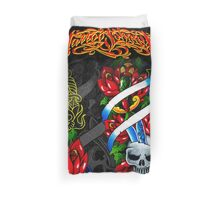 Traditional Skull Dagger & Rose Tattoos Duvet Cover