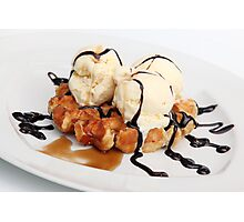 Waffle with ice cream chocolate and maple syrup  Photographic Print