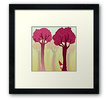 colorful forest with cute dwarf Framed Print