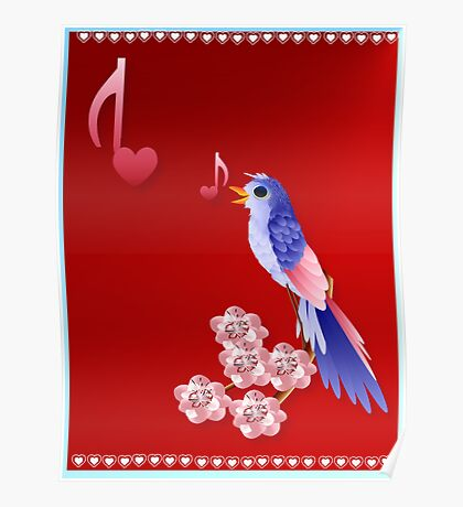 Blue Bird and Love Notes Poster