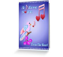 Pink Bird and Love Notes-lettered Greeting Card