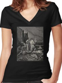 Divine Comedy|Gustave Dore Women's Fitted V-Neck T-Shirt