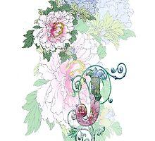19th C. Peonies, Monogram J by VintageEraArt