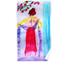 Lady in red, watercolor Poster