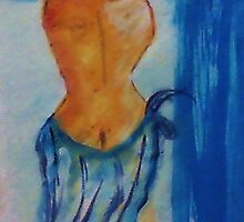 Lady in blue,watercolor by Anna  Lewis