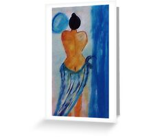 Lady in blue,watercolor Greeting Card