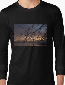 A Sunrise Through the Icy Branches Long Sleeve T-Shirt